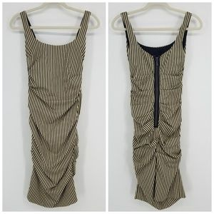 Nicole Miller Classic Striped Ruched Dress